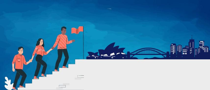 illustration of a immigration consultant explaining the step by step Australia PR Visa Process to PR aspirants.