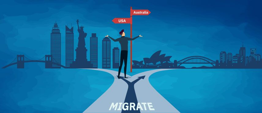 illustration of skilled professional confused about choosing between Australia and USA Immigration to work and Settle.
