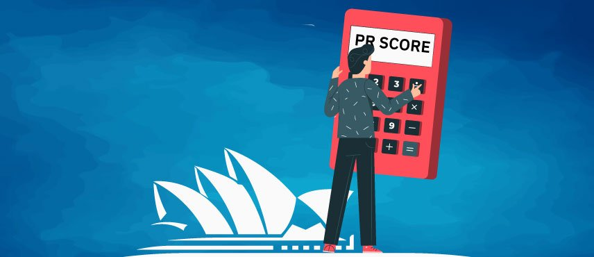 illustration of an aspirant Checking his Australian PR Score.