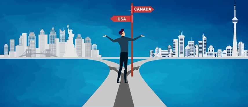 illustration of a student Confused about choosing between Canada and USA for higher Studies from India.