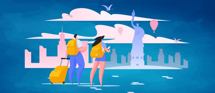 illustration of Couple Planning to go to USA from India for a Holiday on USA Tourist Visa