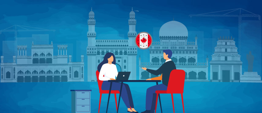 illustration of couple searching for best Canada PR Consultant in Hyderabad.