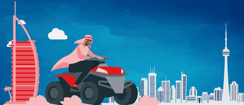 illustration of a emirati willing to move to Canada From Dubai