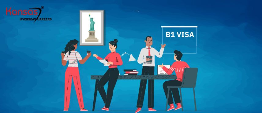 illustration of a Kansas Immigration Consultant Explaining how to apply for B1 Visa.