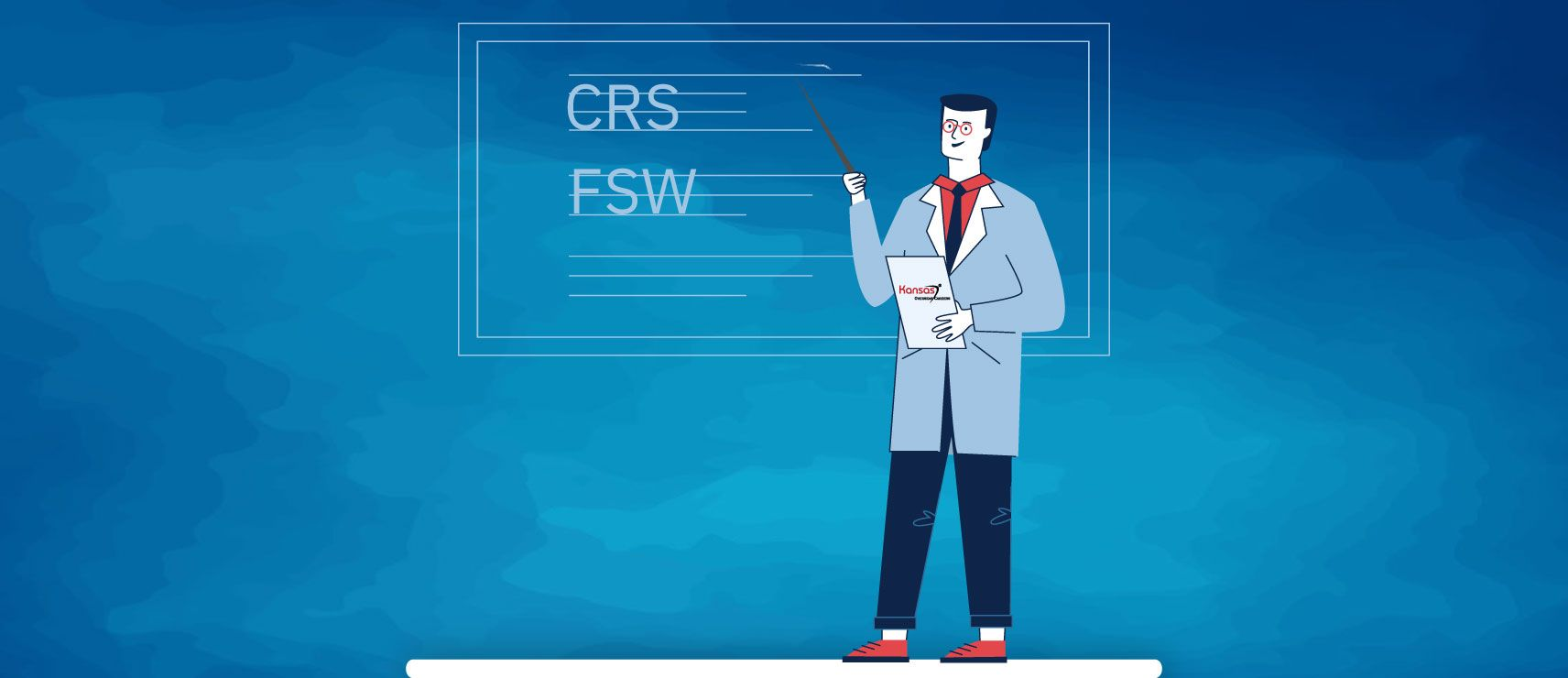 An illustration of Kansas immigration consultant explaining the differences between CRS points calculator and FSW (67 points) points calculator