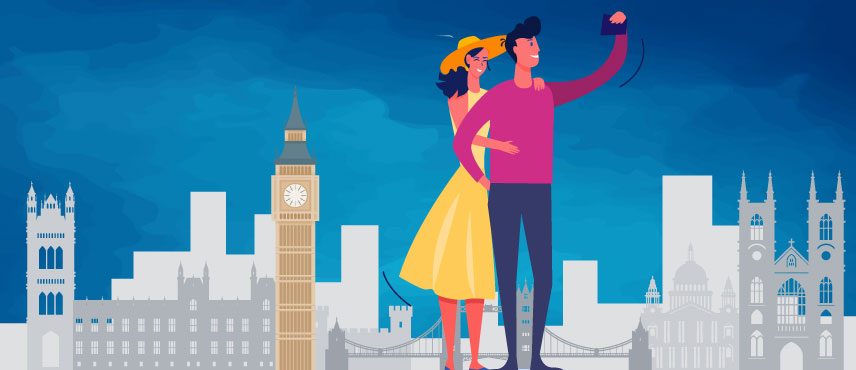 illustration about Couple planning to go to UK For a Holiday on UK Tourist Visa