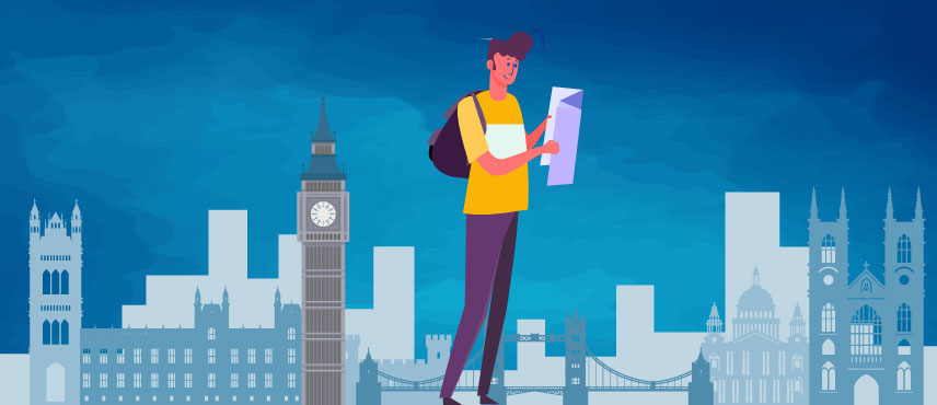 illustration of a tourist checking the list of required UK Visit Visa Documents.