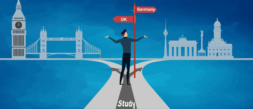 illustration of a student confused about choosing between UK and Germany For Studies.