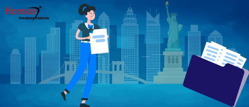 illustration of a woman collecting her documents for USA Visitor Visa.